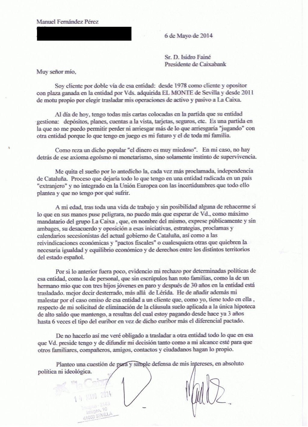 Carta al presidente de caixabank lugar de intercambio for Como saber si me afecta clausula suelo